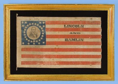 Lincoln & Hamlin campaign flag, notice the portrait of Lincoln in the top left
