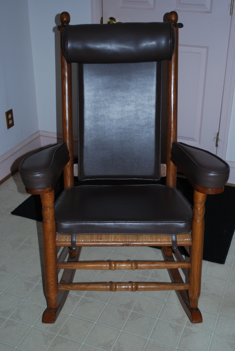 "The Hart Family's ""Kennedy Rocker"" from the P & P Chair Company with Upholstry from Larry Arata"