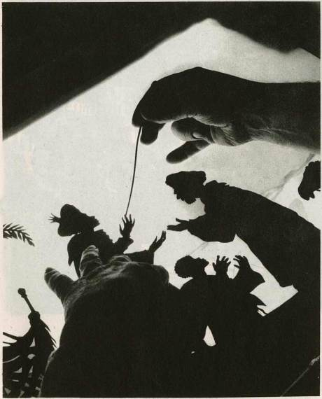 "Figures on the glass background during the filming of ""The Adventures of Prince Achmed"" - 1926"