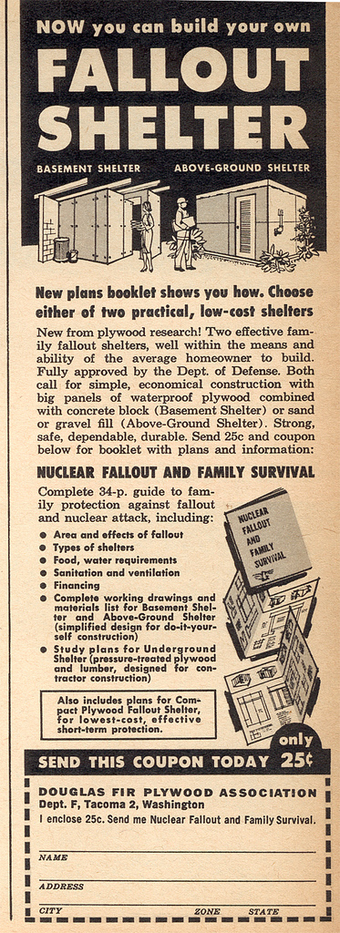 Advertisement for fall out shelter