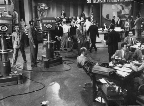 Busy scene in CBS newsroom on election night - November 1952