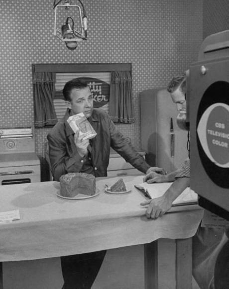 Actor Bob Crosby working on a TV commercial at CBS TV City - 1956