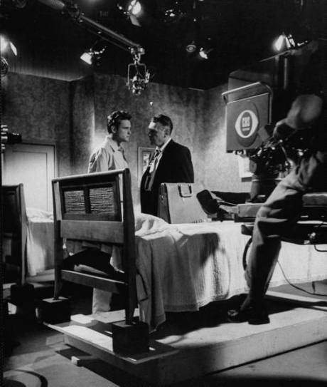 """Actors John Ericson (L) and Ralph Bellamy (R) rehearsing scene for Playhouse 90 """"Heritage of Anger"""" at CBS TV City - 1956"""