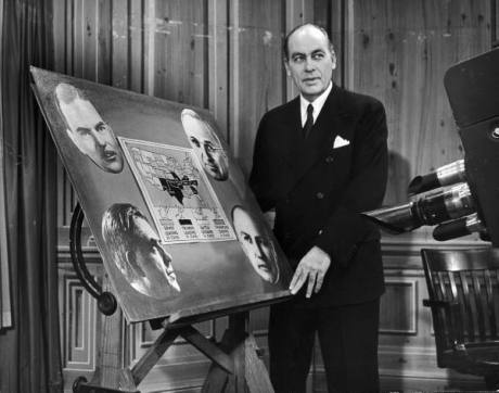 """Dr. George Gallup appearing on CBS-Television series called """"America Speaks."""" - 1948"""