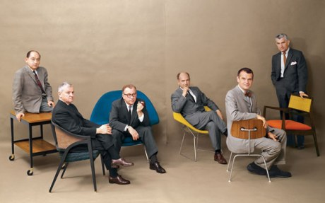 George Nelson, Edward Wormley, Eero Saarinen, Harry Bertoia, Charles Eames and Jens Risom, each with their designs respectively.