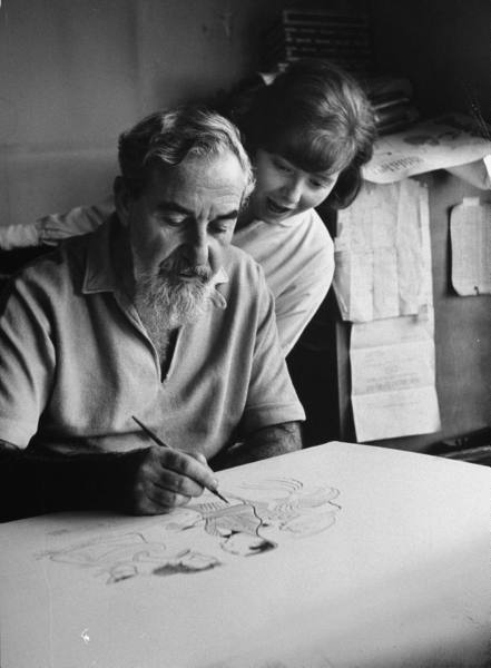 Al Hirschfeld with daughter Nina - 1961 (Image LIFE Archive)