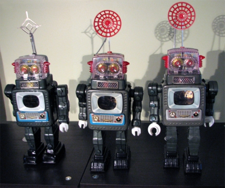 Three versions of the Television Robot by Alps 1960's