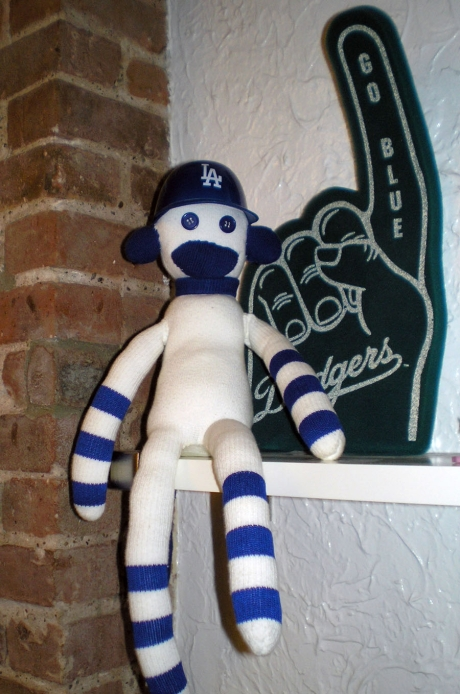 Comic Book Artist Marina Coral's Dodger Sock Monkey (Made by hand by her boyfriend; he has great sewing skills!)