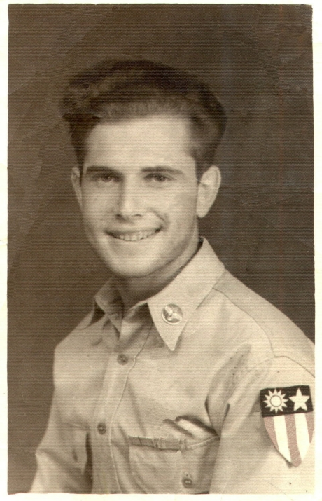 Stephen Hart's Army photograph from WWII.  He has the CBI patch on his sleeve.