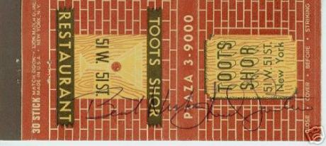 Matchbook signed by Mr. Shor - Image:www.deansandfranks.com