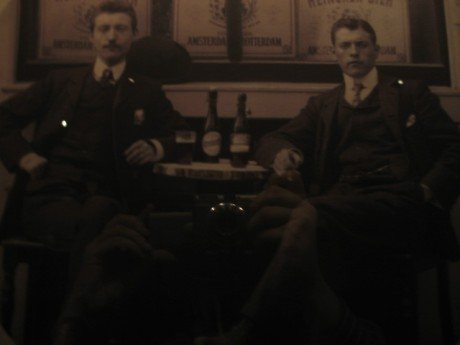 These fine gentlemen are enjoying their beer!