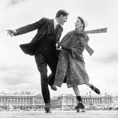 Suzy Parker and Robin Tattersall - coat by Guy Laroche, Palais-Royal, Paris, August 1957