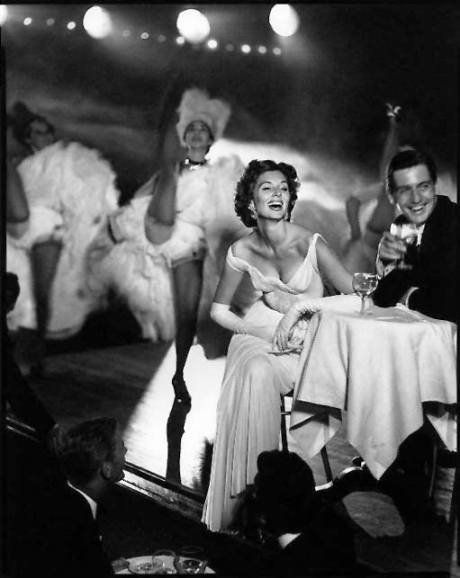 Suzy Parker and Robin Tattersall - Evening dress by Madame Gres, Moulin Rouge, Paris, August 1957
