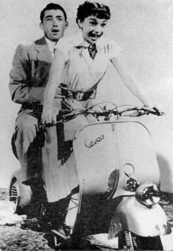 "Audrey Hepburn & Gregory Peck on a Vespa - ""Roman Holiday"""