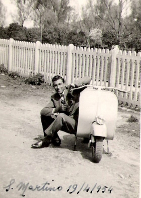 Giuseppe Aliquo with his Vespa - 1954