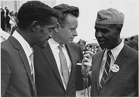Sammy Davis Jr. and Roy Wilkins at the 1963 march in Washington D.C.