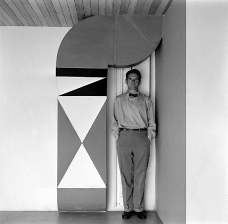Mr. Eames at home with stacked shapes