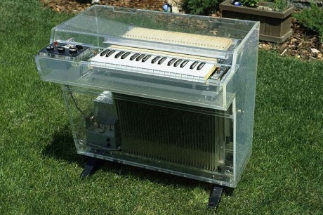 A Mellotron M400 in clear lucite