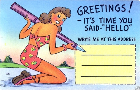 These old pin-up linen postcards from the 1940′s are great!