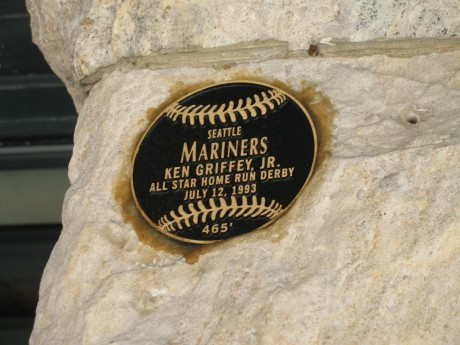 Ken Griffey Jr. has been the only player to hit a ball off the warehouse.  Here is the plaque which commemorates the spot.