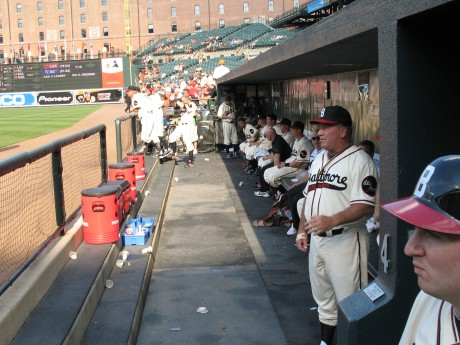 The Orioles dugout.  The Elite Giants uniforms are the best!
