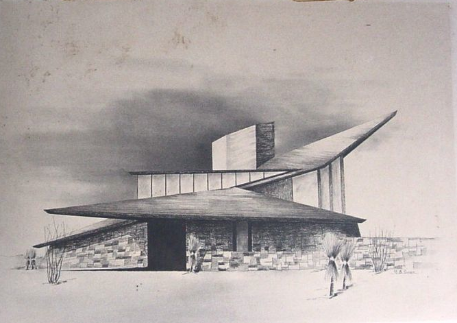 Mid century modern home sketch by architect richard b Drawing modern houses