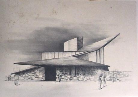 Mid Century Modern Home Sketch By Architect Richard B Swain 1965 February 18 2010