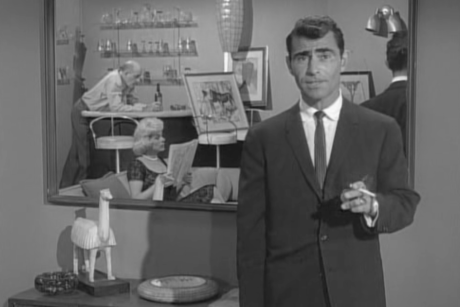 "From ""A Most Unusual Camera"" - December 16, 1960 - Great 2 button sack suit, satin tie, and white oxford spread collar shirt"