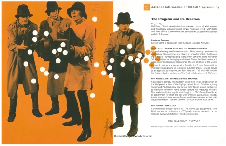 The Monkees-NBC Sales Sheet Cover Page 3